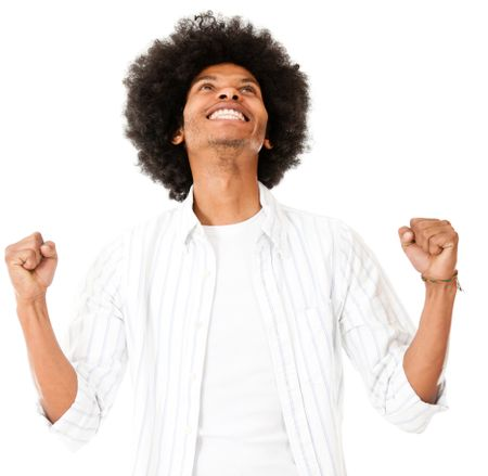 Successful black man - isolated over a white background