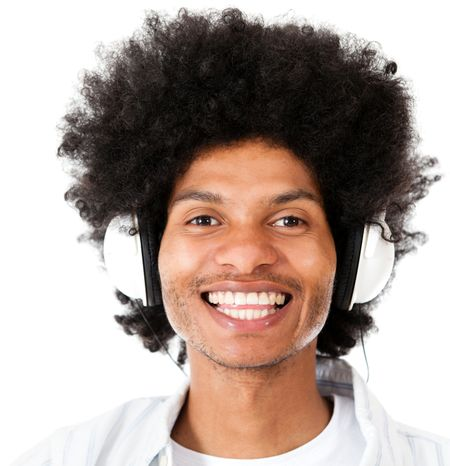 Afro man listening to music with headphones - isolated over white