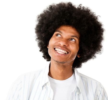 Happy afro man daydreaming - isolated over a white background