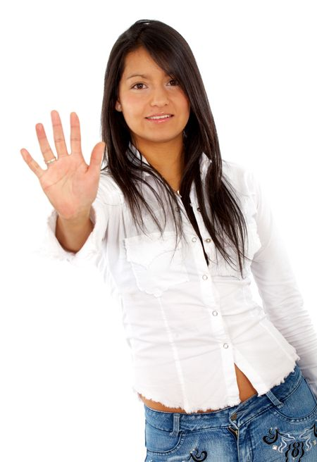 girl showing her hand isolated over a white background