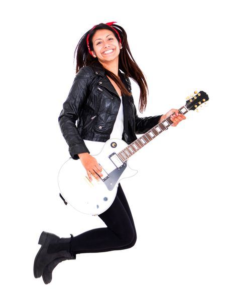 Female guitar player jumping - isolated over a white background