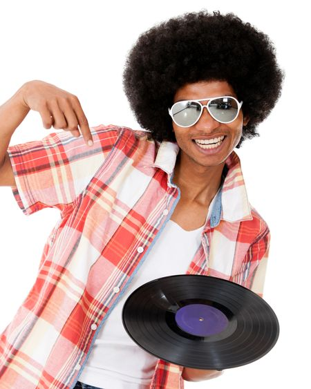 Happy DJ with a disco style - isolated over a white background