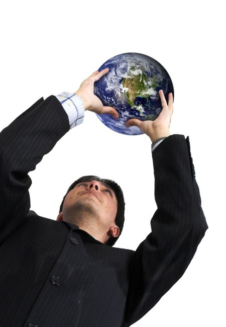 business man holding a globe up over a white background