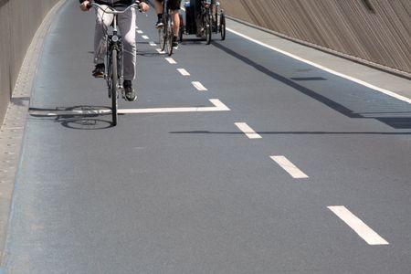 Cyclists on Bike Lane; Copenhagen; Denmark