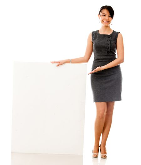 Business woman with a banner - isolated over a white background