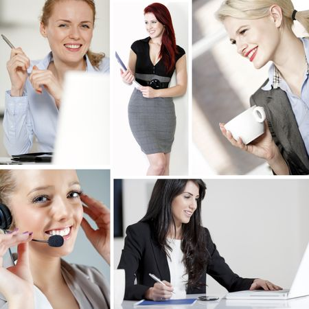 Compilation of young beautiful professional working women in the office and at home
