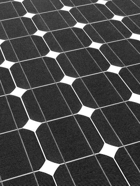Symmetry of solar panel in black and white