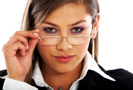 business woman portrait wearing glasses isolated over a white background