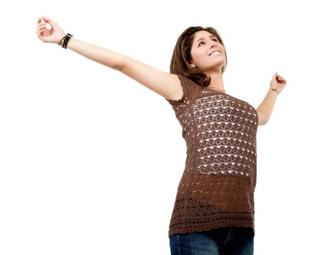 freedom- casual woman with her arms open isolated over a white background