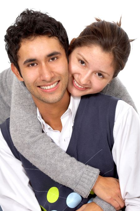 casual couple of young adults smiling isolated over a white background