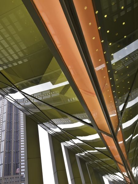 Contemporary architectural abstract: Dynamic detail of state university building in Chicago Loop on overcast day