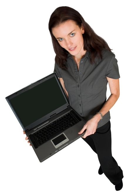 business woman with laptop full body over white
