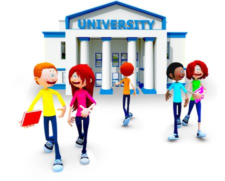 3D students going to university - isolated over a white background