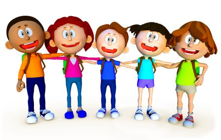 3D group of school kids - isolated over a white background
