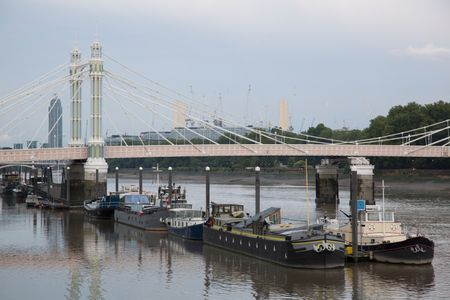 Albert Bridge with Barges; Chelsea; London; England; UK