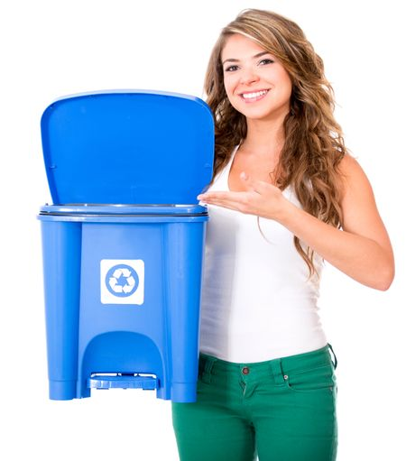 Woman encouraging to recycle - isolated over a white background