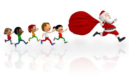 3D kids chasing after Santa to get Christmas presents - isolated over white