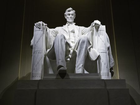 Lincoln Memorial statue at night, Washington, DC