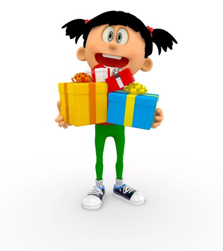 3D kid holding gifts - isolated over a white background