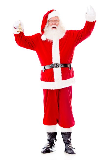 Happy Santa Claus greeting with his hand - isolated over white