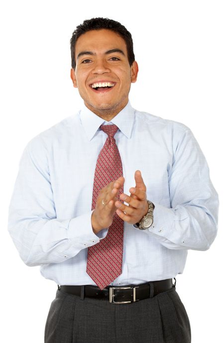 Business man clapping and smiling isolated over a white background