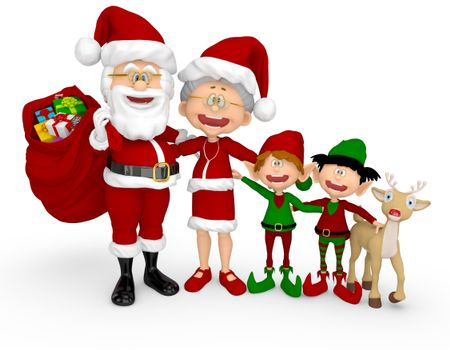 3D Happy Christmas family - isolated over a white background