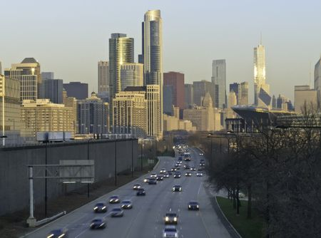 Rush hour at sunrise in Chicago -- looking north along Lake Shore Drive
