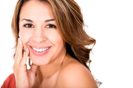 Beauty female portrait smiling - isolated over a white background