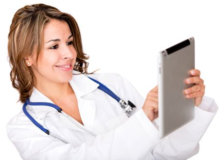 Doctor using a tablet computer - isolated over a white background