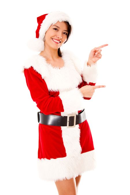 Female Santa pointing to the side - isolated over a white background