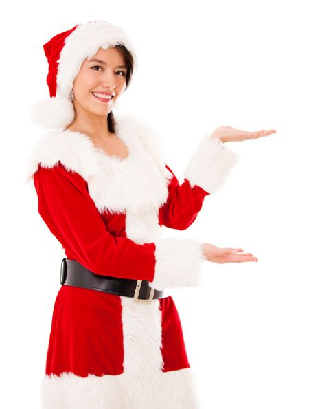 Female Santa displaying something with her hands - isolated over white