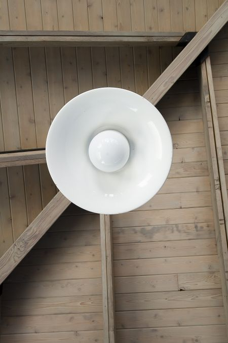 Light fixture hanging from ceiling of picnic shelter