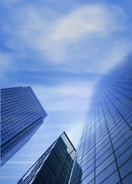 corporate buildings  blending with sky at the top
