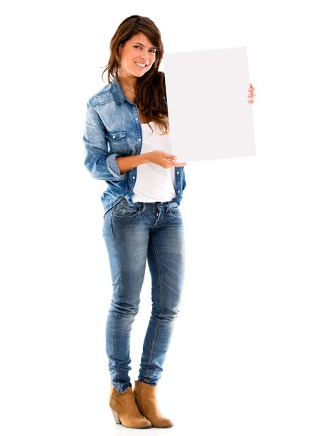Happy woman holding a banner - isolated over a white background