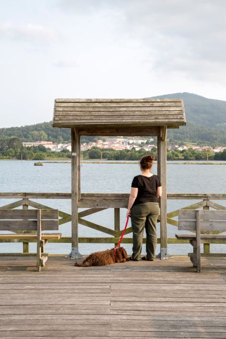 Woman on Riverside Pier Walk in Galicia, Spain with Brown Spanish Water Dog Puppy