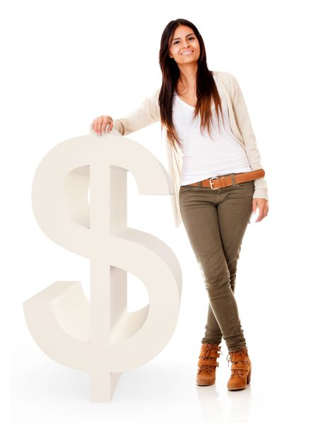 Woman with a dollar symbol - isolated over a white background