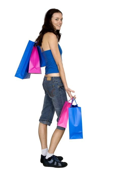 female with shopping bags over white