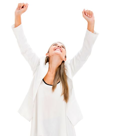 Successful business woman with arms up celebrating - isolated