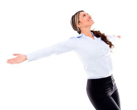 Successful business woman wit arms up - isolated over white