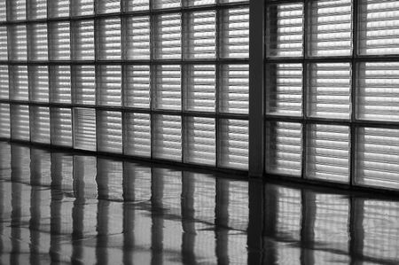Wall of opaque window panes and reflections on linoleum floor