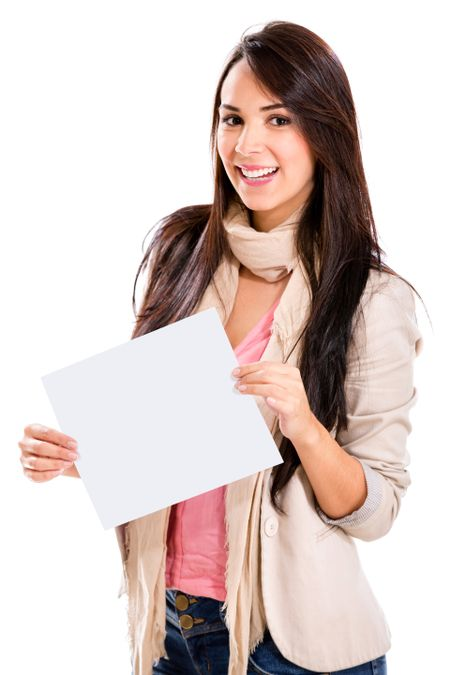 Happy woman holding a banner ad - isolated over white