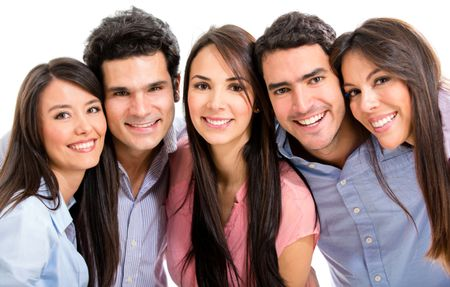 Group of happy friends smiling - isolated over a white background