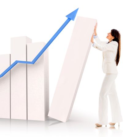 Successful business woman pushing a bar graph - isolated over white