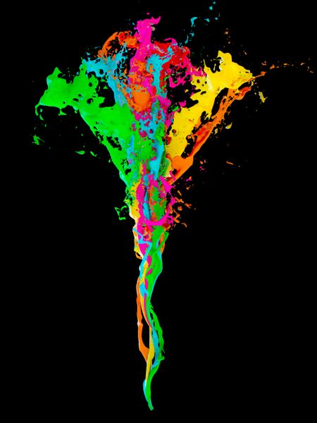 3D fluid paint colors Isolated over black