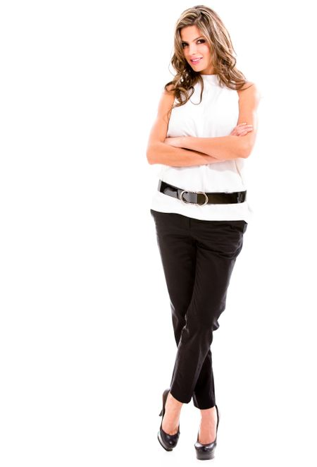 Successful business woman - isolated over a white background