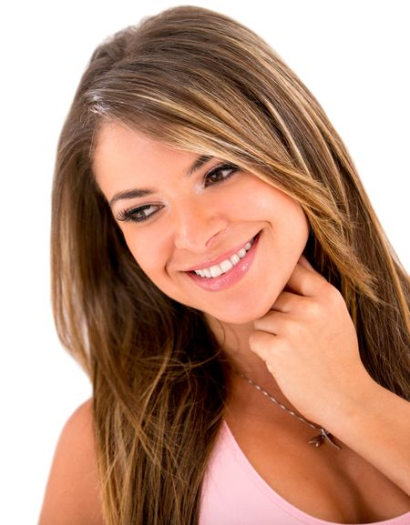 Beautiful woman potrait smiling - isolated over a white background