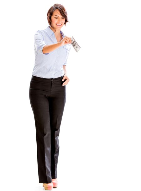 Business woman holding a dollar bill - isolated over a white background