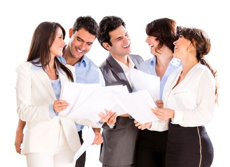 Business group talking over some documents - isolated over a white background