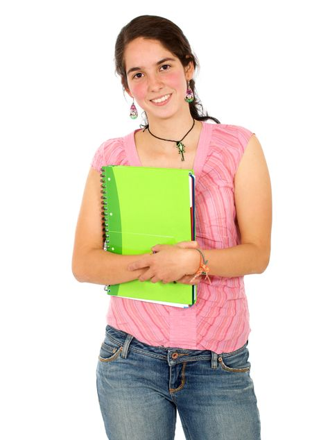 casual female student smiling and holding a notebook - isolated over a white background