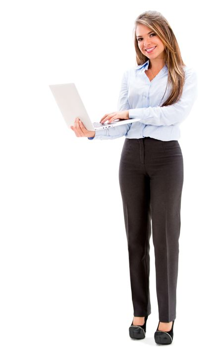 Happy business woman holding a laptop - isolated over white